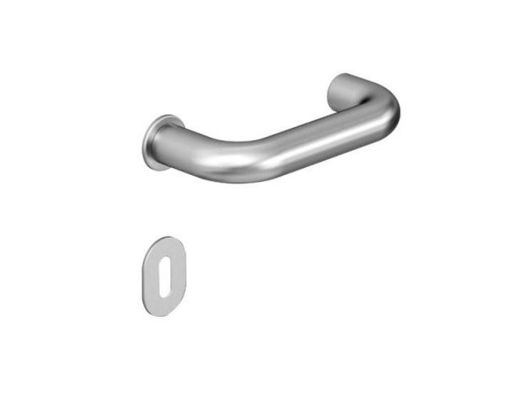 Stainless steel door handle with lock MINI U | Metal door handle by HEWI