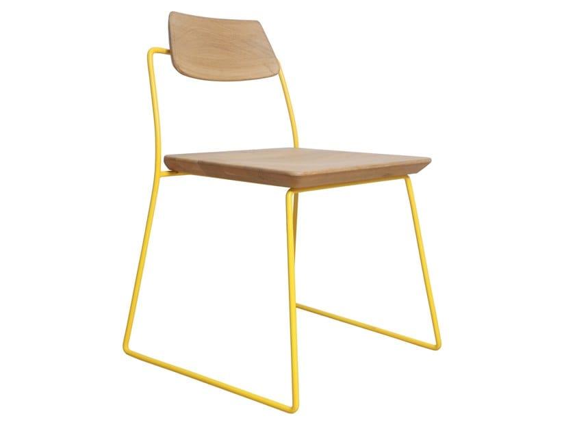 Sled base solid wood chair MINIK   Solid wood chair by ALANKARAM