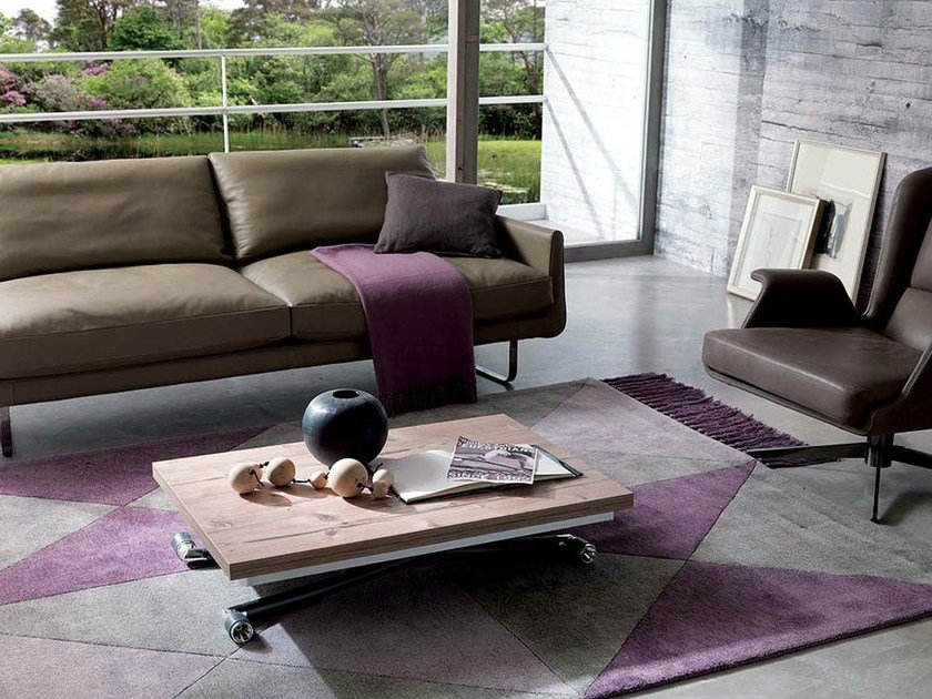Height-adjustable wooden coffee table MINILONG by Ozzio Italia