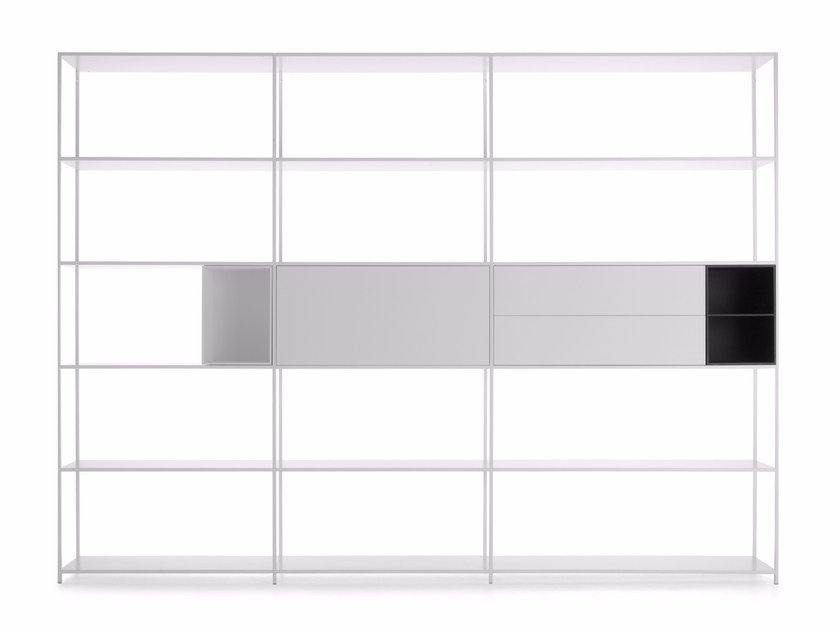 Sectional lacquered aluminium bookcase MINIMA 42 by MDF Italia