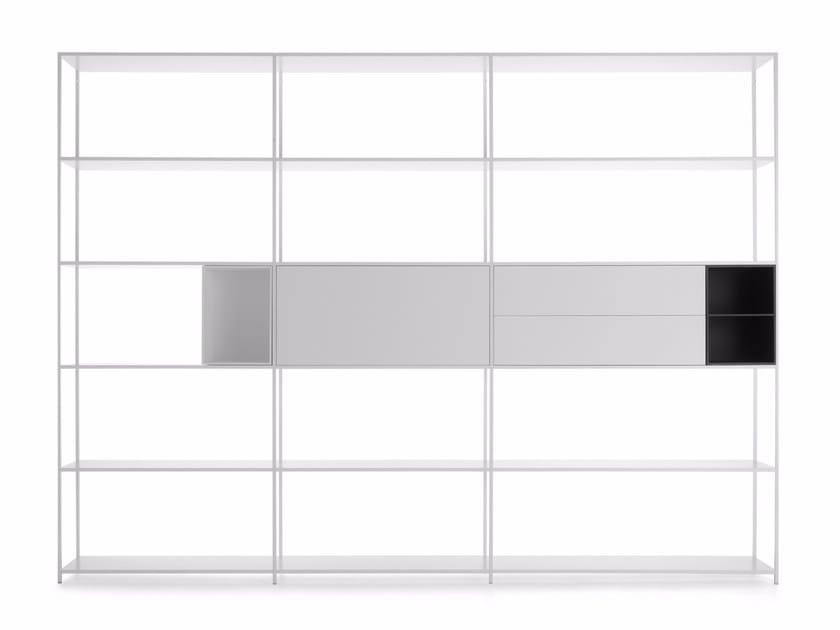 Libreria componibile laccata in alluminio MINIMA 42 by MDF Italia