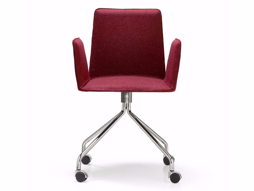 Fabric chair with 4-spoke base with armrests MINIMAX | Chair with 4-spoke base by Quinti Sedute