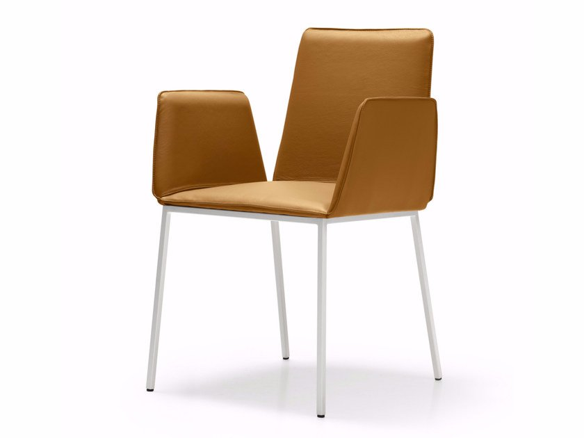 Leather chair with armrests MINIMAX | Leather chair by Quinti Sedute