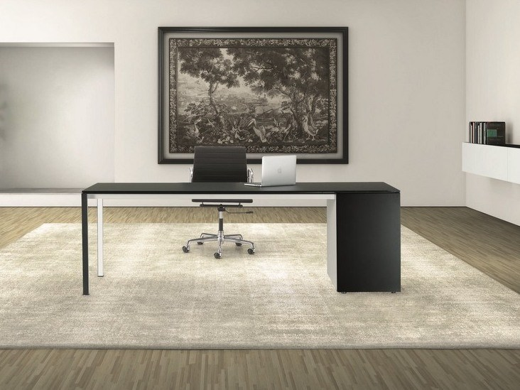 Rectangular laminate office desk with drawers MINIMUM | Office desk with drawers by Ultom