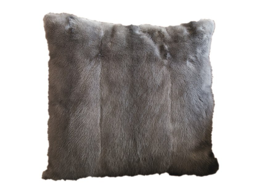 Solid-color square fur cushion MINK by Longhi