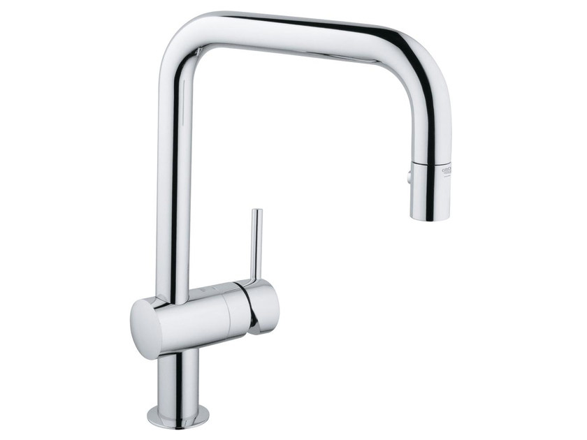 1 hole kitchen mixer tap with flow limiter MINTA U | Kitchen mixer tap with swivel spout by Grohe