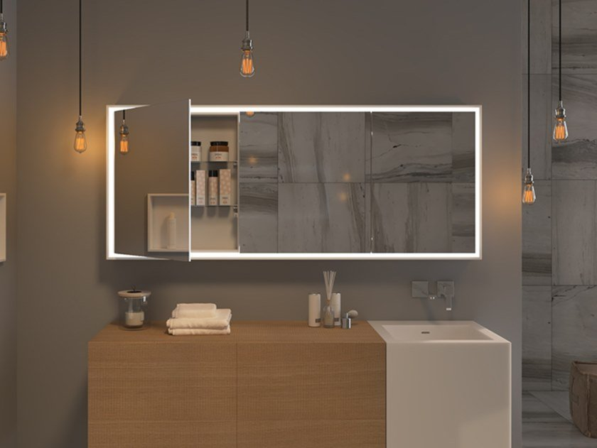 Bathroom Wall Cabinet With Integrated Lighting With Mirror Mirr Reverse By Moma Design