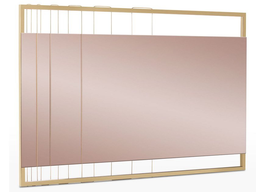 Rectangular wall-mounted steel mirror AEGIS | Mirror by Lamberti Design