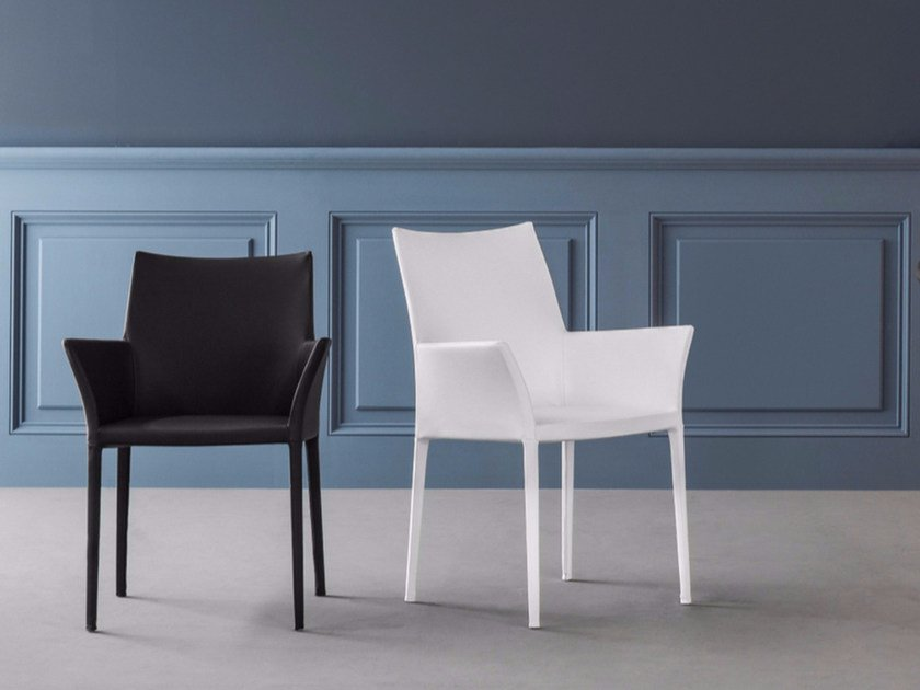 Leather chair with armrests MISS KAYLA by Bonaldo