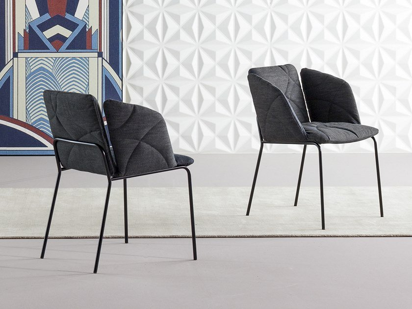 Upholstered fabric chair with armrests MISS WHY NOT by Bonaldo