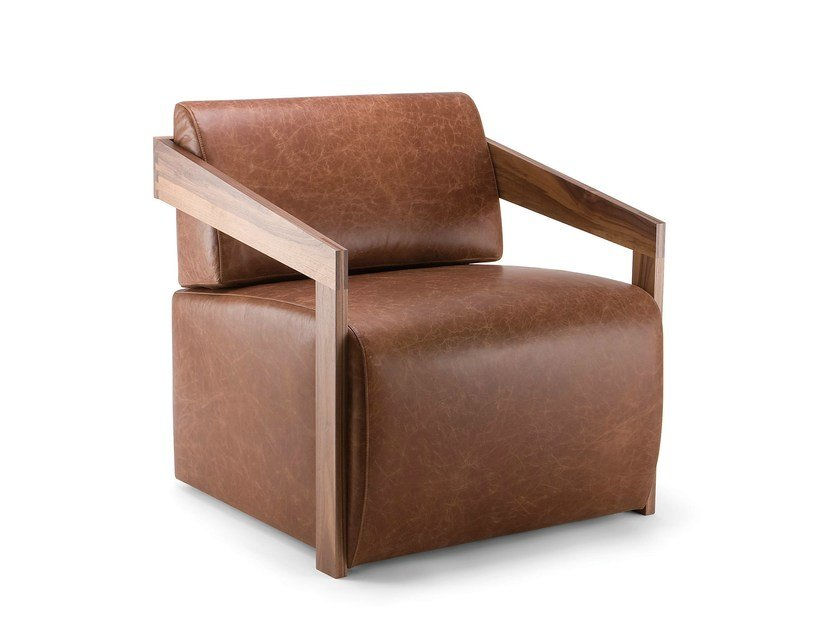 Leather armchair with armrests MISTER | Leather armchair by Cizeta L'Abbate