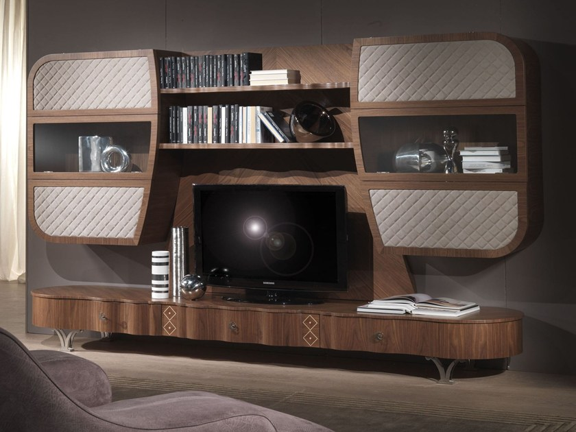 Solid wood TV wall system MISTRAL B by Carpanelli Contemporary