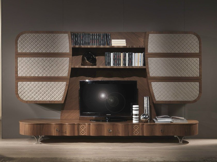 Solid wood TV wall system MISTRAL A by Carpanelli Contemporary