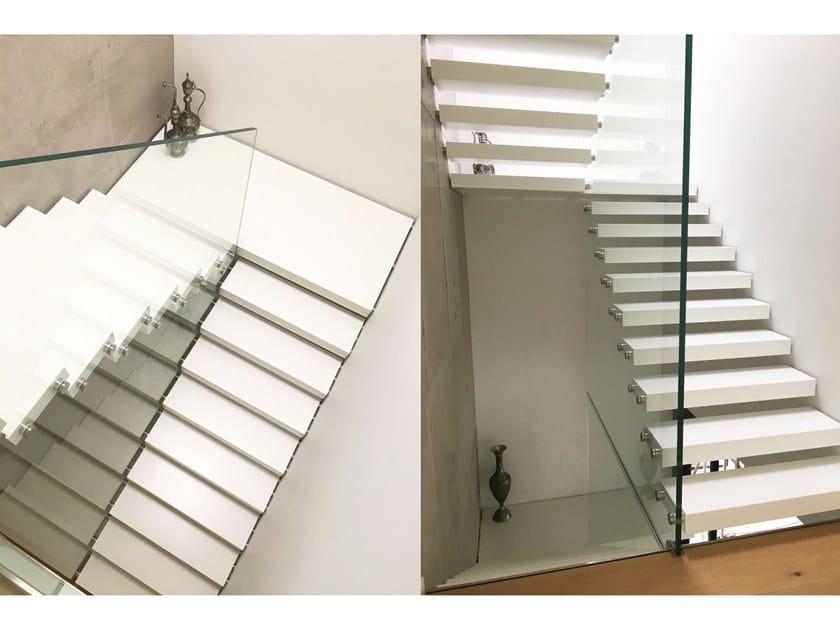Corian® Open staircase MISTRAL CORIAN by Siller Treppen