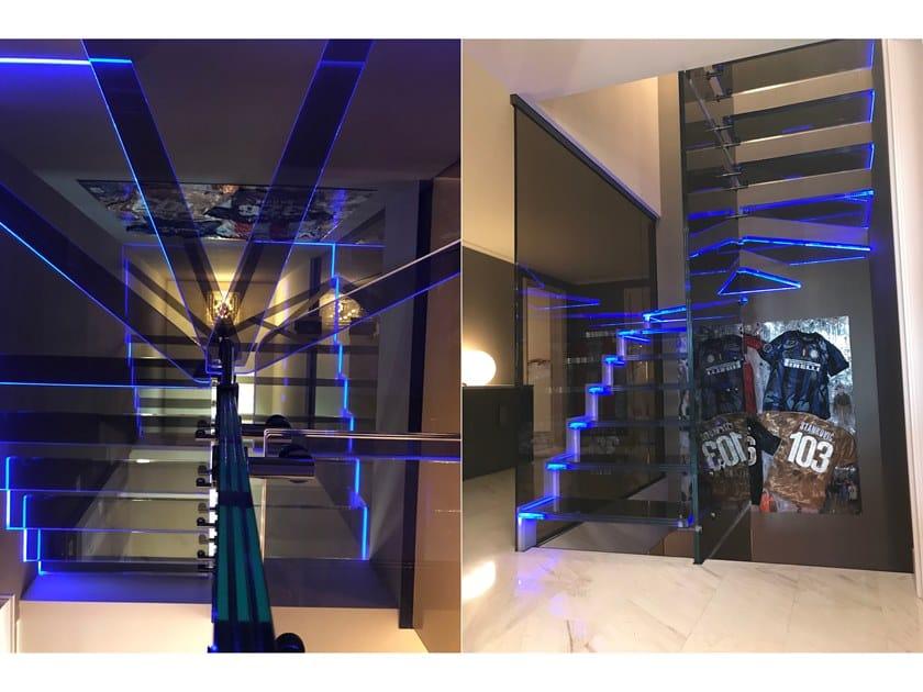 Scala a giorno in vetro con LED MISTRAL LONDRA LED by Siller Treppen