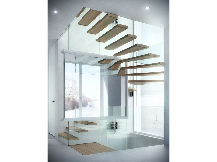 Wood and glass Open staircase MISTRAL MAGIC by Siller Treppen
