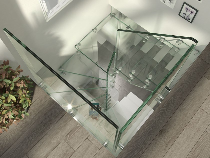 Square glass Spiral staircase MISTRAL SPIRAL   Glass Spiral staircase by Siller Treppen