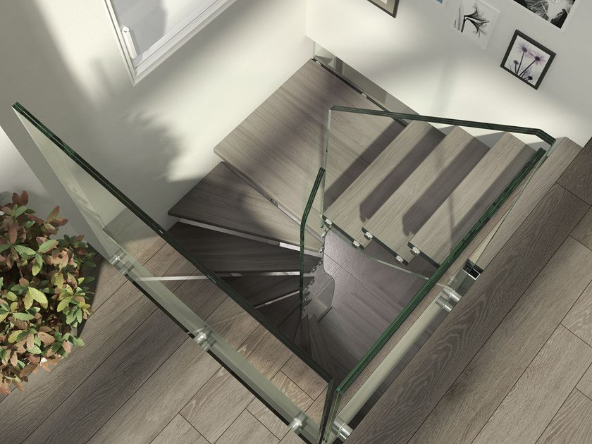 Square wood and glass Spiral staircase MISTRAL SPIRAL | Spiral staircase by Siller Treppen