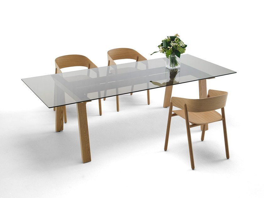 Rectangular wood and glass table MITIS | Wood and glass table by Punt