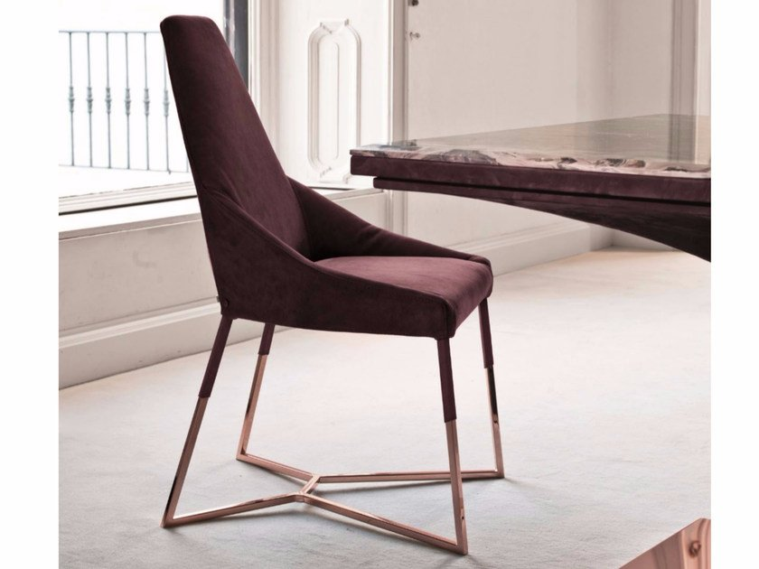 Upholstered fabric chair MIU | Fabric chair by Longhi