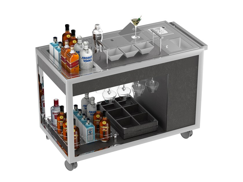 Beverage Serving trolley with shelves Mixology cart by La tavola