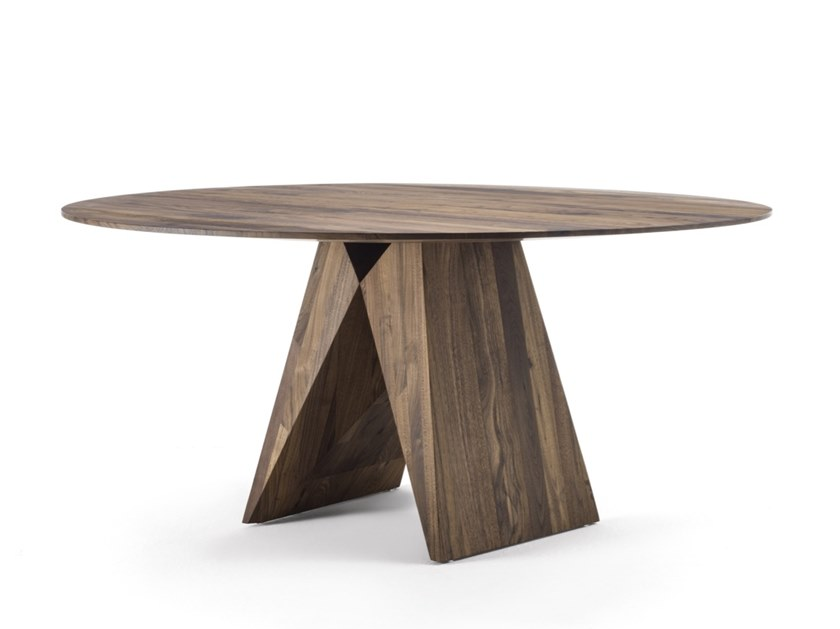Round solid wood table MIYA by Riva 1920