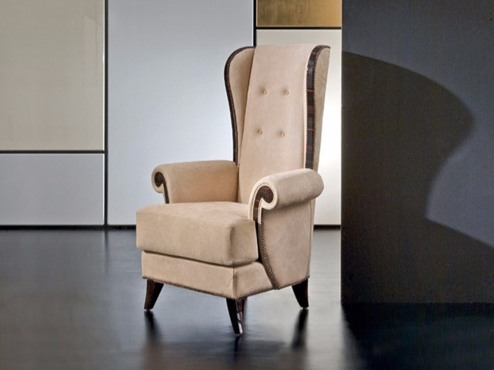 Fabric wingchair with armrests MK158 | Armchair by Rozzoni