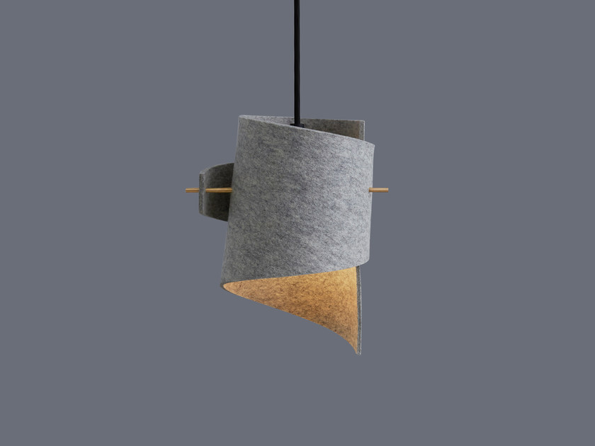 LED handmade felt pendant lamp ML01 MINI WOOL FELT LIGHT GREY by moijn
