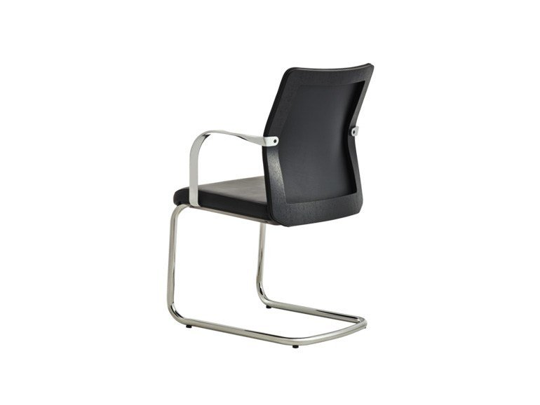 Cantilever upholstered leather chair with armrests MN1 | Cantilever chair by Howe