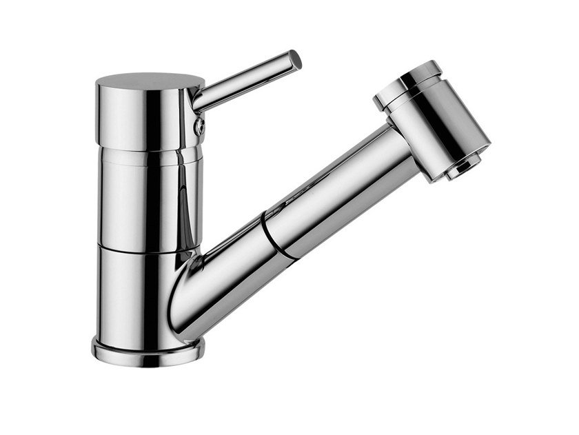 Single handle kitchen mixer tap with pull out spray FUTURO - F6517 by Rubinetteria Giulini
