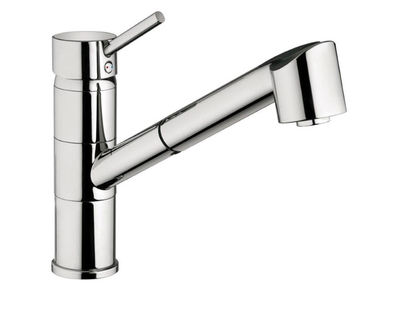 Countertop single handle kitchen mixer tap with pull out spray FUTURO - F6518 by Rubinetteria Giulini