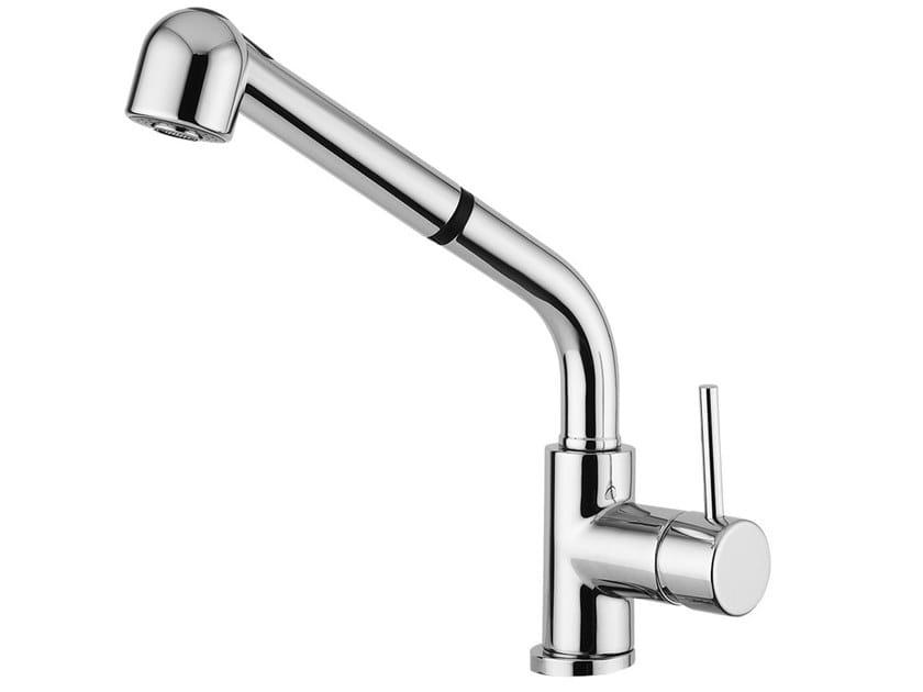 Countertop single handle kitchen mixer tap with pull out spray FUTURO - F6519 by Rubinetteria Giulini