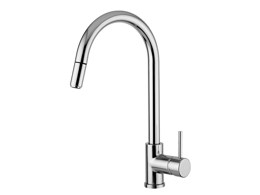 Single handle kitchen mixer tap with pull out spray FUTURO - F6572 by Rubinetteria Giulini