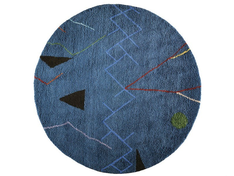 Round wool rug with geometric shapes MOBILE | Round rug by Toulemonde Bochart