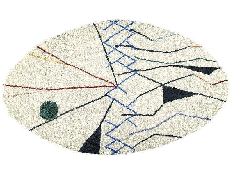 Oval wool rug with geometric shapes MOBILE | Oval rug by Toulemonde Bochart