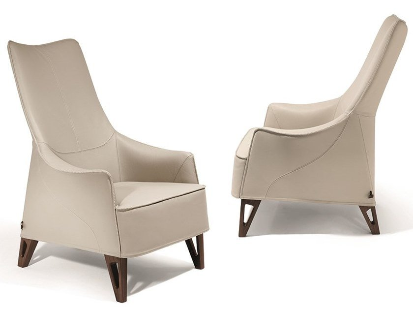 Bergere leather armchair with armrests MOBIUS | Bergere armchair by GIORGETTI