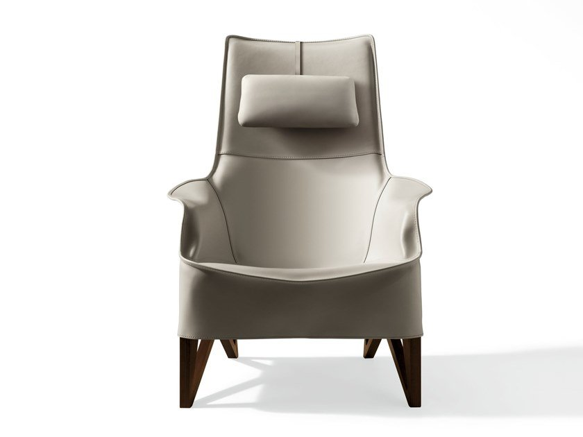 Tanned leather armchair with headrest MOBIUS | Tanned leather armchair by GIORGETTI