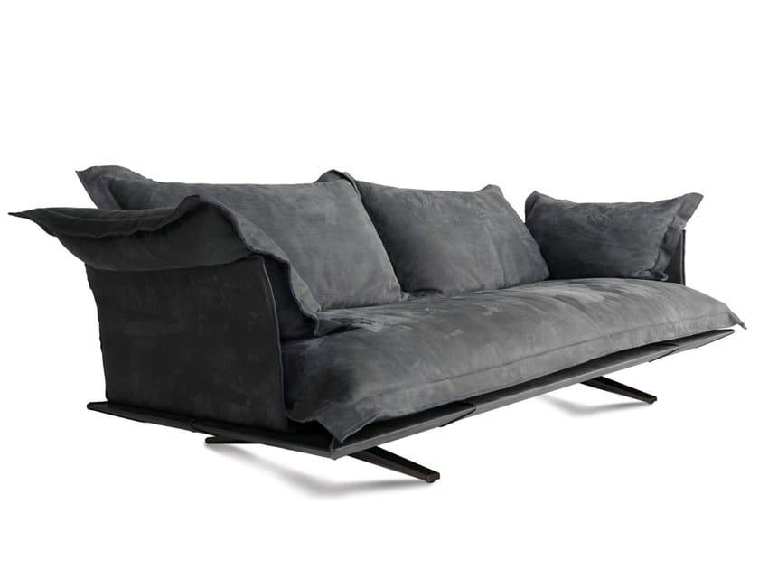 3 seater sled base leather sofa MODEL | Sofa by ALBEDO