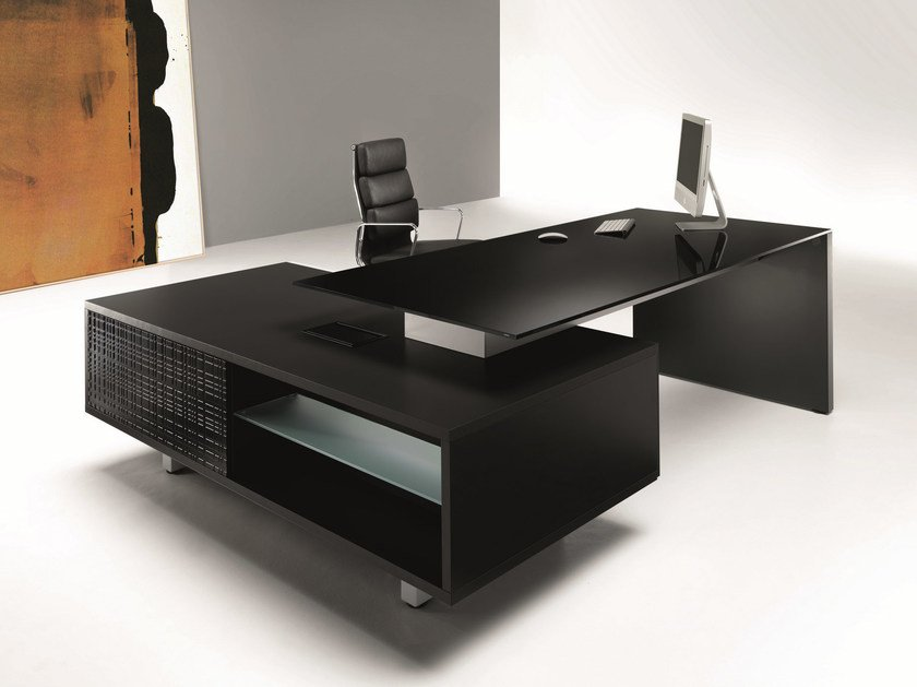 Lacquered executive desk with shelves MODI | Lacquered office desk by Ultom