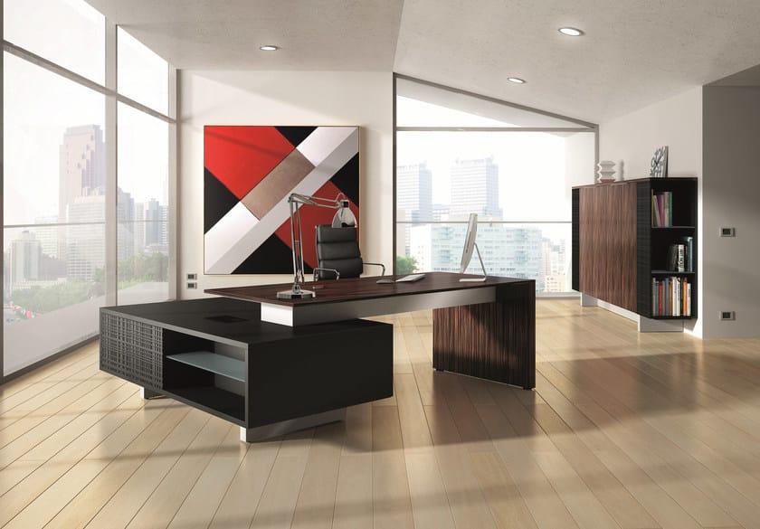 Wood veneer executive desk with shelves MODI | Wood veneer office desk by Ultom