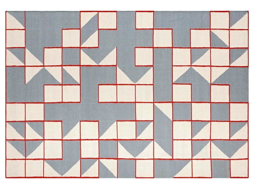 Handmade rectangular wool rug with geometric shapes MODICA BLUE by GAN