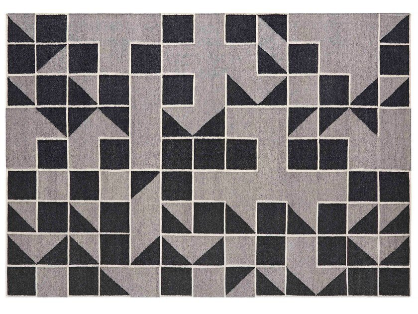 Handmade rectangular wool rug with geometric shapes MODICA GREY by GAN