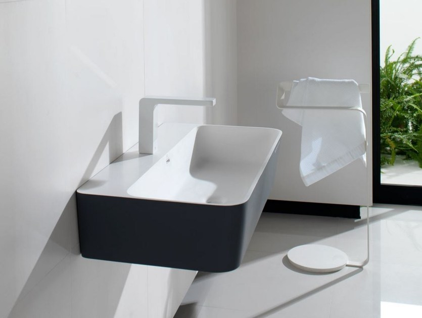 Wall-mounted Krion® washbasin MODUL | Single washbasin by Systempool