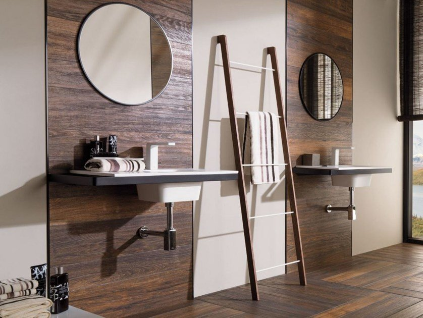 Krion® washbasin with integrated countertop MODUL | Wall-mounted washbasin by Systempool