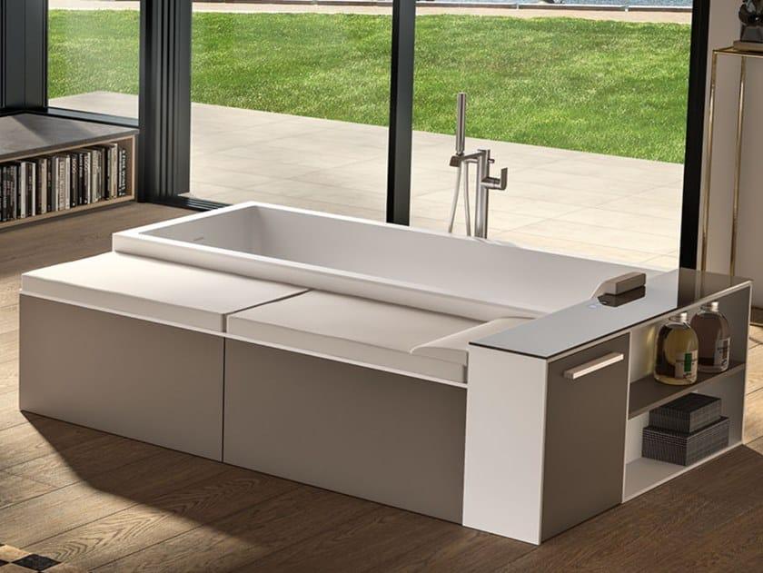 Vasca da bagno centro stanza con seduta rettangolare MODULA F COMBI by Albatros