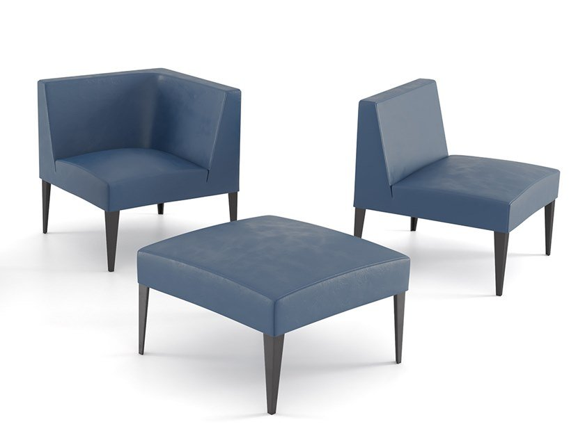 Modular leather armchair with fire retardant padding MORE CLUB | Modular armchair by ESTEL GROUP