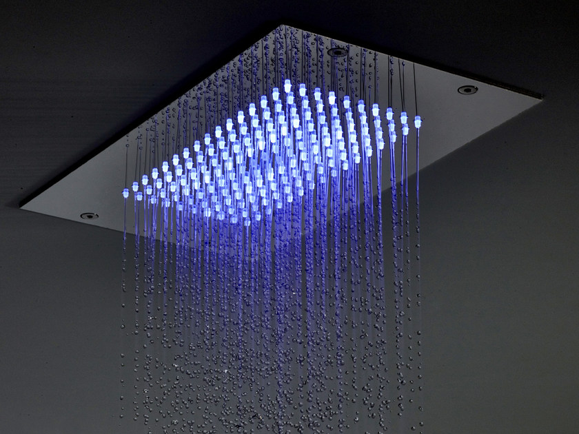 Extra flat stainless steel rain shower for chromotherapy MODULAR F2825 by FIMA Carlo Frattini