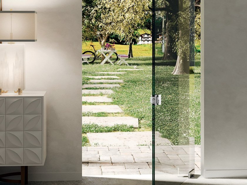 Glass door hinge Square Module For Strong Thicknesses by Metalglas Bonomi