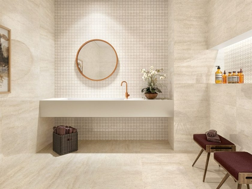 Glazed stoneware wall/floor tiles with marble effect MOKA by Revigrés