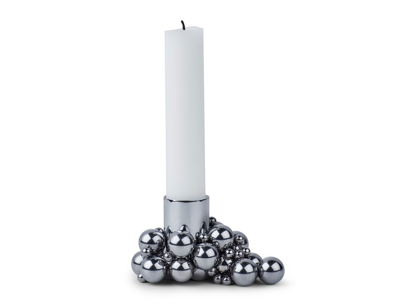 Magnetic steel candle holder MOLEKYL 1 CHROME by Gejst